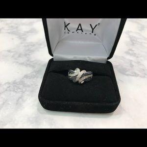 Kay Jewelers 925 Silver Black White Diamond Ring